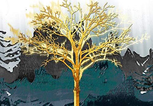 wZUN Pintura de Lienzo de árbol Dorado Abstracto, Carteles e Impresiones, árbol de Estilo nórdico, Arte de Pared, Lienzo, Retrato de Sala de Estar 60x90cm Sin Marco