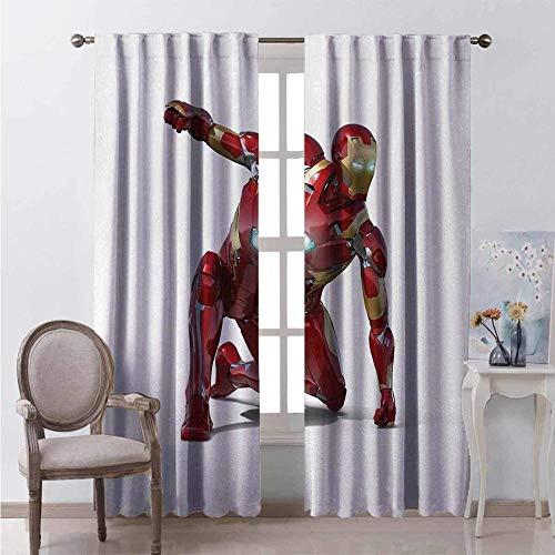 YZDAJIBA® Decoración de dormitorio con cortina opaca Superhéroe juega como un héroe transformador robot disfrazado 150*166 CM Cortinas de tela de poliéster resistente cortinas de ventana 3D opacas col