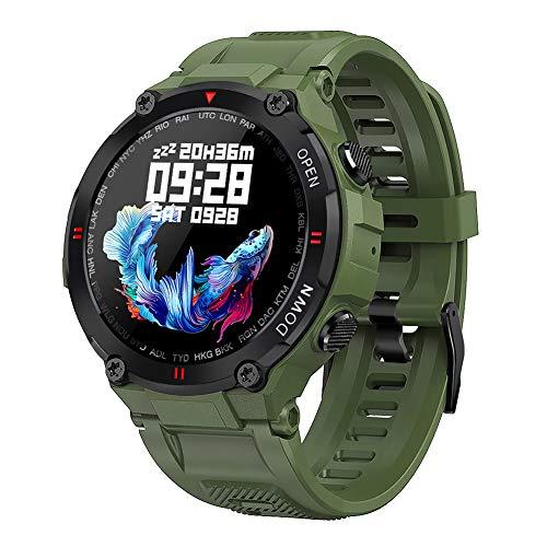 Bluetooth Smart Watch Reloj militar a prueba de agua con ritmo cardíaco Llamada y mensaje Notificación Música Reproducir relojes inteligentes Compatible Android y iOS para hombres mujeres,Verde