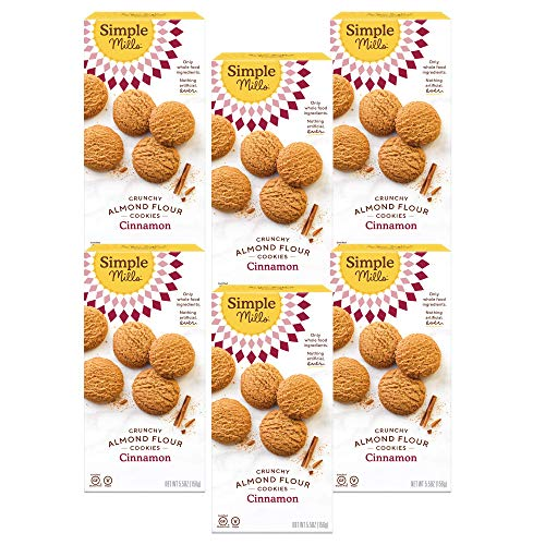 Simple Mills Almond Flour Cinnamon Cookies, Gluten Free and Delicious Crunchy Cookies, Organic Coconut Oil, Good for Snacks, Made with whole foods, 6 Count (Packaging May Vary)