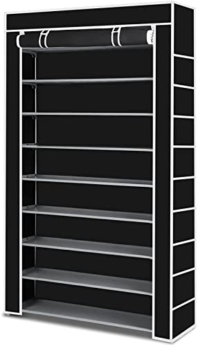 Shoe Rack Storage, Multiple Combination 60 Pairs 10 Tier Shelf Portable Metal Pipes Organizer Stand with Waterproof F...