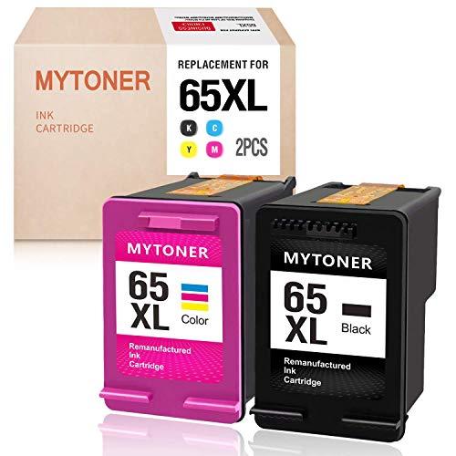 MYTONER Remanufactured Ink Cartridge Replacement for HP 65XL 65 XL High Yield Ink for HP Envy 5052 5055 5058 DeskJet 2622 3755 2624 2652 2655 3720 3752 3721 3722 3723 3758 Printer(Black Tri-color,2PK)