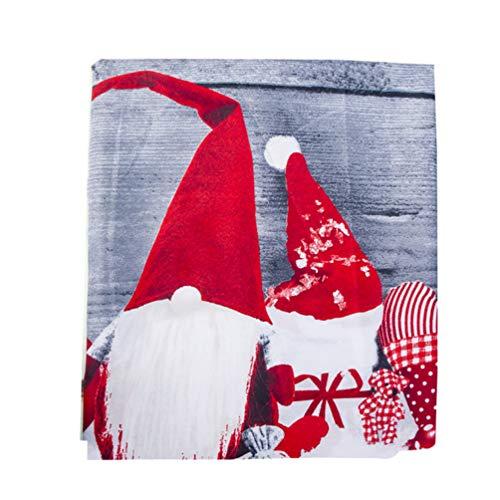Amosfun tovaglia Natalizia Gnomo Rosso Stampato copritavolo Lavabile copritavolo Cartone Animato Decorazione tavola per Festa di Natale 150x180cm