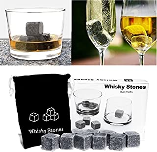 HYLong 9pcs Whisky Soapstone Ice Stones Drinks Cooler Cubes Whiskey Scotch Rocks Granite & Pouch Great