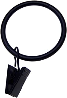 WAY DENG Inner Diameter 50mm Black Metal Curtain Rings with Clips 20 Pack Drapery Shower Curtain Pole Rings Thickness 4mm Strong Durable Rustproof