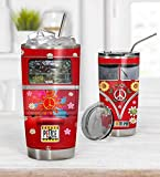 Personalized Red Hippie Tumbler Retro Hippie Vans Tumbler Stainless Steel Vacuum Insulated Double Wall Travel Tumbler with Lid, Tumbler Cups for Coffee/Tea, for Birthday Christmas
