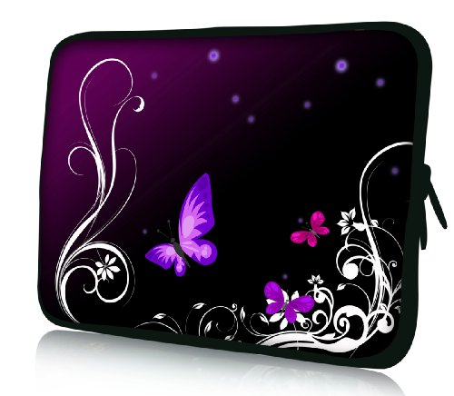 Luxburg Design Custodia Borsa Sleeve Involucro per Notebook Laptop PC Portatile MacBook 14,2 Pollici, Motivo: Farfalle Lilla