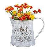 Vaso Fiori in Metallo - 13cm Mini Vaso Brocca Stile Francese -...