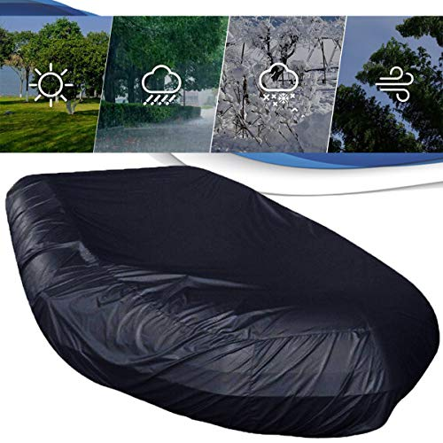 EnweLampi Inflatable Boat Cover, Waterproof Heavy Duty Antidust Antisnow Rubber Boat Covers, Marine Grade Polyester Canvas Trailerable Dinghy Fishing Kayak Cover, Full Size,Black,185x37x18in