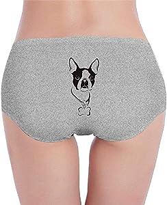 Adamitt Calzoncillos Boston Terrier para Mujer, Calzoncillos, Calzoncillos, algodón, Hipster, Bikini, Ropa Interior de Tiro bajo