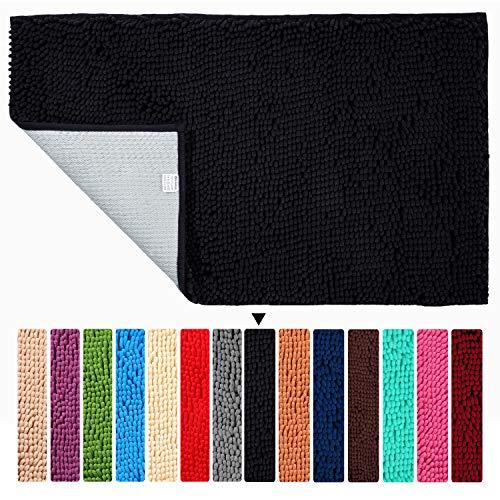 ORANIFUL Alfombras de Baño Antideslizante de 70 x 120 cm Tapete para el Piso Lavable a Máquina con Microfibra de Chenilla Absorbente de Agua(Negro)
