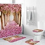 KCMDA Cherry Blossom Avenue 3D-Gedruckter wasserdichter Duschvorhang Duschvorhang für das Badezimmer 4-teiliges Set (rutschfeste Teppich-Toilettenabdeckungsmatte) Antischimmel/maschinenwaschbar