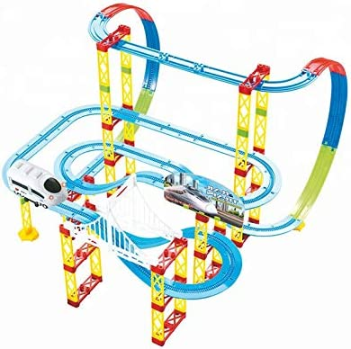kiditos diy self-assemble full track layout bullet train (105 pcs) battery operated train track set toy- Multi color