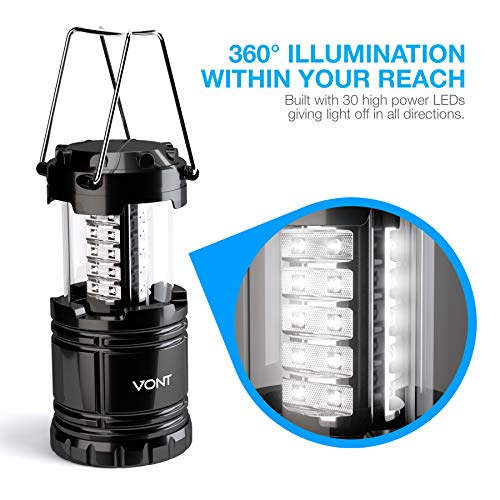 Vont 4 Pack LED Camping Lantern, LED Lanterns, Suitable Survival Kits for Hurricane, Emergency Light for Storm, Outages, Outdoor Portable Lanterns, Black, Collapsible, (Batteries Included)