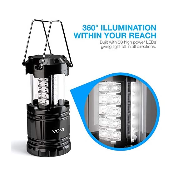 Vont 4 Pack LED Camping Lantern, LED Lanterns, Suitable Survival Kits for Hurricane, Emergency Light for Storm, Outages… 2 Bright & Lasting: Equipped with 30 crazy bright leds, this compact lantern cuts through 360 degrees of darkness on the stormiest, dimmest nights. Easily lights up the entire tent or room. Compact & Lightweight: Collapsible design that reduces or increases the light as you collapse or expand the lantern. When collapsed it's as small as your phone. Easily fits in your backpack or emergency kit. Waterproof: Constructed with aircraft grade materials: your lantern is able to survive a 10-foot drop and being temporarily submerged under water.