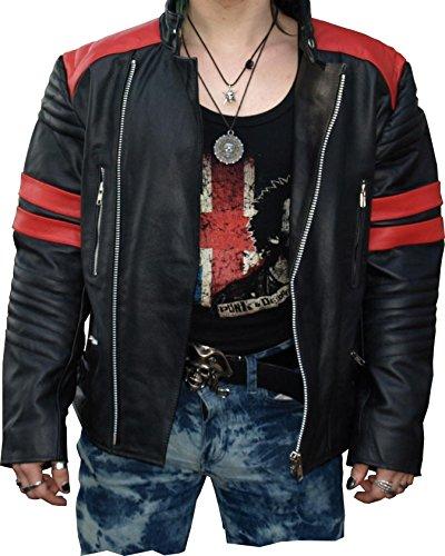 Hard Leather Motorrad Retro Lederjacke Schwarz Rot Premium, Grösse XXL