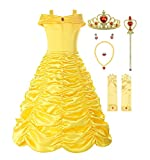 ReliBeauty Little Girls Layered Princess Costume Dress up with Accessories, Yellow, 2T/100