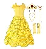 ReliBeauty Mädchen Prinzessin Kleid Belle Kostüm Einfarbig Drop Shoulder Falten Rock Cosplay, Gelb(mit Zubehör), 122-128(Etikett 130)