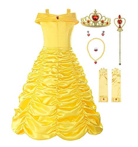 ReliBeauty Ragazza Principessa Vestito Belle Bambina Costume, Giallo(con Accessori),9-10 Anni