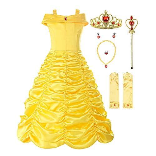 ReliBeauty Ragazza Principessa Vestito Belle Bambina Costume, Giallo(con Accessori),4-5 Anni