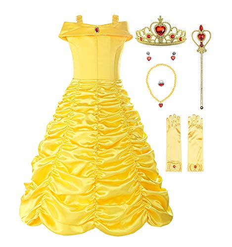 ReliBeauty Mädchen Prinzessin Kleid Belle Kostüm Einfarbig Drop Shoulder Falten Rock Cosplay, Gelb(mit Zubehör), 110-116(Etikett 120)
