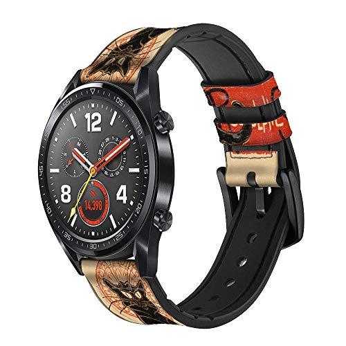 Innovedesire Chat Noir Black Cat Vintage Cinturino in Pelle Smartwatch per Wristwatch Smartwatch Smart Watch Taglia (18mm)