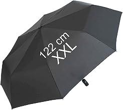 Paraguas plegable, con apertura y cierre automático, extragrande de 122 cm, unisex   Negro negro 124