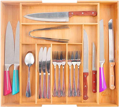 Bambusküche Ausziehbare Besteckkasten Schublade Organizer Utensilienhalter, Küchenorganizer 7-9 Fächer Besteckablage für Küche, Schlafzimmer, Büro.(35-50cm x 45cm x 5cm)