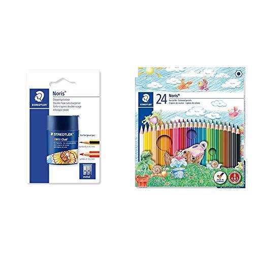 Staedtler 512002BKD - Sacapuntas Doble con Contenedor, Gris + Noris Club - Pack de 24 lápices de, Multicolor