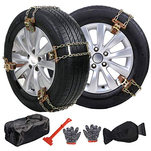 Snow Chains for Car, Emergency Tire Chains, Universal Anti Slip Snow Chains for SUV, Trucks, RV of Tire Width 215mm-285 mm (8.5-11.2 inch), Adjustable Lock for Ice, Snow, Mud, Sand (8 Pack 2-Chains)