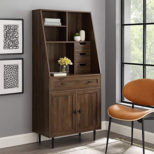 Walker Edison Secretary Hutch Wood Desk with Keyboard Drawer Bookshelf Home Office Storage Cabinet,...
