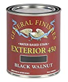 General Finishes Exterior 450 Water Based Wood Stain, 1 Quart, Black Walnut