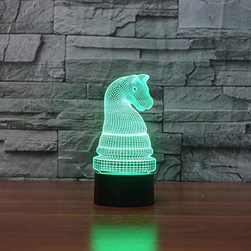 YOUPING 3D Illusion Lamp Led Night Light Chess Shape Table Lamp 7 Color Changing Horse Chess Led Light Fixture Gift Bedside Table Leep ing Bedroom Decor