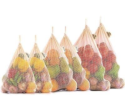 Reusable Produce Bags - Organic Mesh Produce Bags - Cotton Mesh Vegetable Bags - Cloth Produce Bags - Cotton Produce Bags - Cloth Vegetable Storage Bags - Cotton Bags Set of 6 (2 M, 2 L, 2 XL)