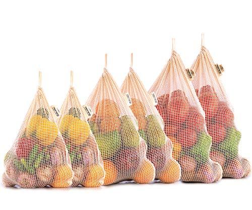Reusable Cotton Mesh Produce Bags - 100%Organic Cotton - Reusable Produce Bags Cotton - NetZero Produce Bags - EcoFriendly Produce Bags - Biodegradable - Organic Cotton Mesh Bags (Set of 6 - XL, L, M)