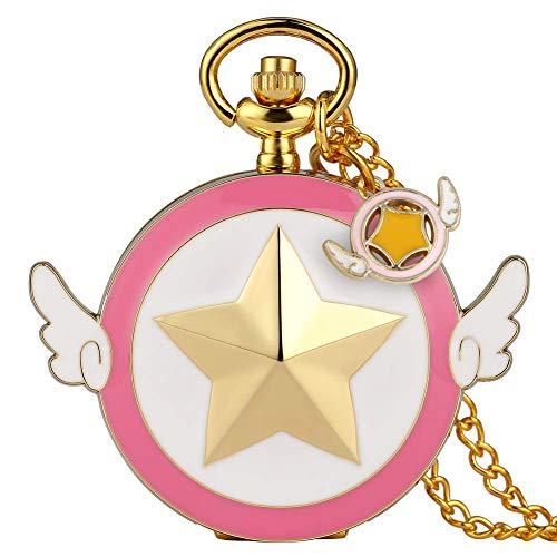 Cardcaptor Sakura Reloj de Bolsillo Vintage Anime Sailor Moon Girls Relojes de Bolsillo Star Wing Quartz Reloj de Bolsillo para Mujer Collar niñas, Reloj de Bolsillo