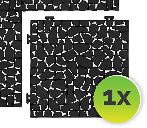 FairFox Garten Klickfliesen Black Stone I Umweltfreundlich aus 100% Recycel-Kunststoff I Ideal als Balkon Bodenbelag oder Terrassenplatten I Terrassen- & Balkonboden schnell & einfach verlegt [1 Stk.]