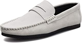 Penny Loafer For Men Boat Moccasins Slip On Style Leather Solid Color Soft Fooling Business Whippersnapper Low Top Breathable casual shoes (Color : White, Size : 42 EU)