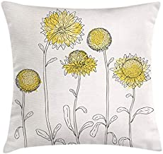Ambesonne Yellow Flower Throw Pillow Cushion Cover, Hand Drawn Style Sunflowers on Twigs Petals Growth Botany Summertime, Decorative Square Accent Pillow Case, 20