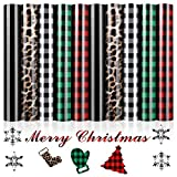 Heat Transfer Vinyl Christmas HTV 10 Sheets 12' x 10' Assorted Leopard Plaid Print Iron on Vinyl for Shirts Cricut DIY Clothes Bag Hat Pillow Crafts