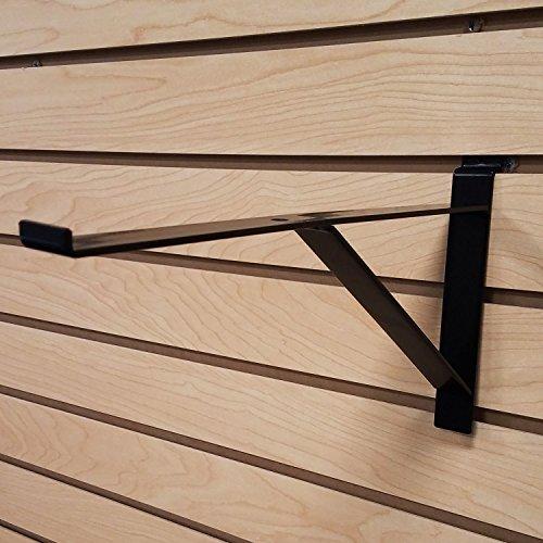 12' Black Heavy Duty Slatwall Shelf Bracket with Support & Lip - 10 Pack