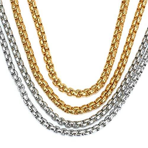 Aeici Acero Inoxidable Cadenas Collar Hombre Ancho 4mm Collar de Cadena de Belcher Collares Cadena Hombre Oro 20 Inch