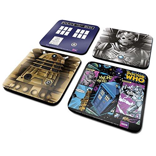 Doctor Who CSP0009Lot de 4 Dessous-de-Verre Tardis/Cyberman/Dalek/Comic