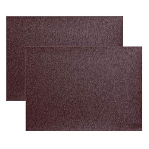 Ofima 2 parches autoadhesivos de piel para reparación de sofás, asientos de coche, bolsos, chaquetas, agujeros, grietas, quemaduras, manchas (marrón oscuro, 20 x 40 cm)