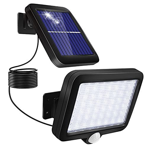Luce Solare LED Esterno, Lampade Solari da Esternocon Sensore di Movimento con Distanza 3-5Metri Angolo di Induzione 120° 6000K 56Leds 1000mAh Luci da Solari Giardino per impermeabilità
