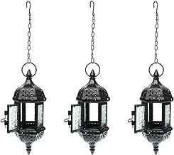 Fenteer 3PCs Moroccan Style Metal & Glass Teal Light Candleholder Hanging Lantern Candleholder for Wedding Home Coffee Sho...