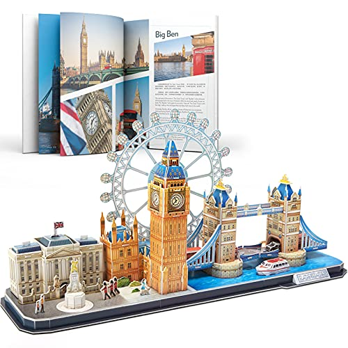 CubicFun 3D Puzzles UK London Bridge Big Ben City Skyline Jigsaw Puzzle DIY Building Model Kits Gift and Souvenir for adults and kids, 107 Pieces