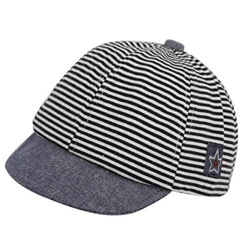 Puseky Chapeau de béret en Coton pour bébé garçon bébé Fille Autocollant pentagonal Bonnet de Soleil Doux Bord (Color : Grey, Size : 0M-12M)