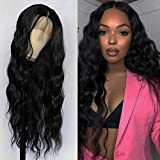 Jolitime Hair Black Long Loose Curly Wave Synthetic Lace Front Wigs Glueless water wave with Baby Hair Lace Front Wig for Fashion Women 28 inch