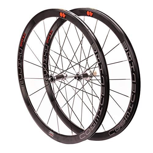 TianyiTrade Rennrad Fahrrad Laufrad 700C Laufradsatz 40mm Legierung Felge 19,2mm Breite Kohlefaser Tube Nabe 1990g (Color : Black)